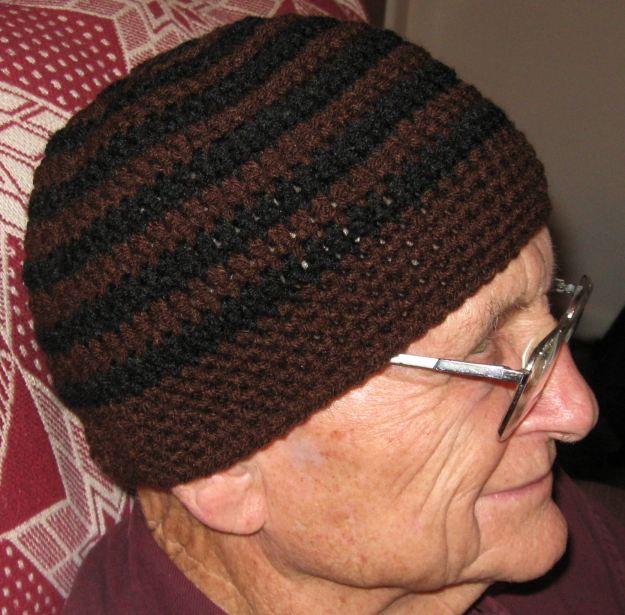 men's crocheted handmade beanie hat