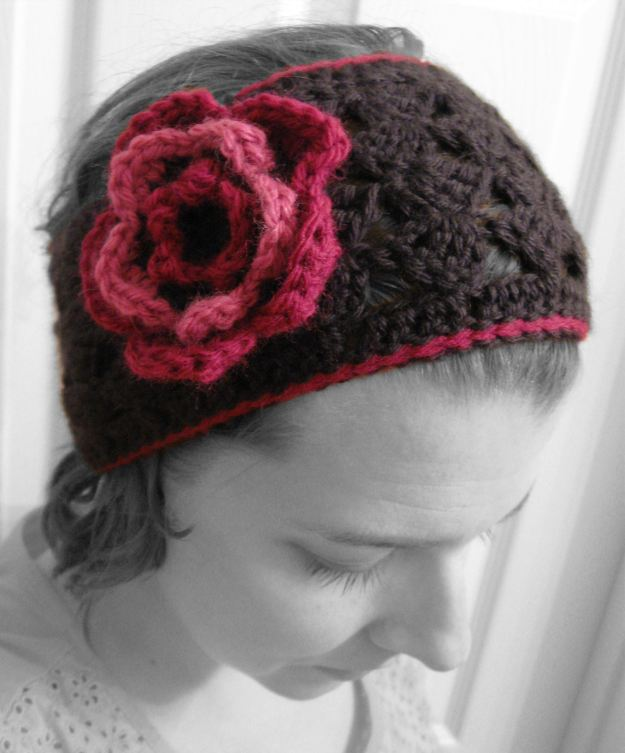 handmade crocheted wide headband flower