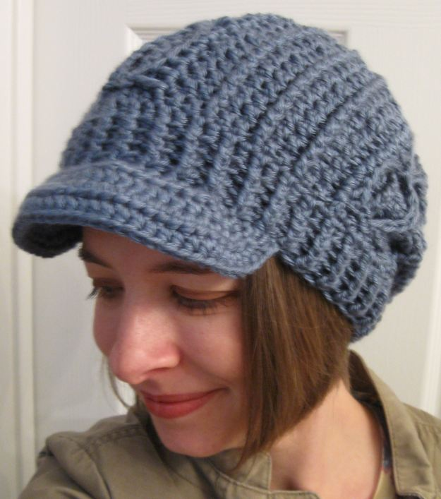 slouchy hat with brim faux-cable handmade crochet