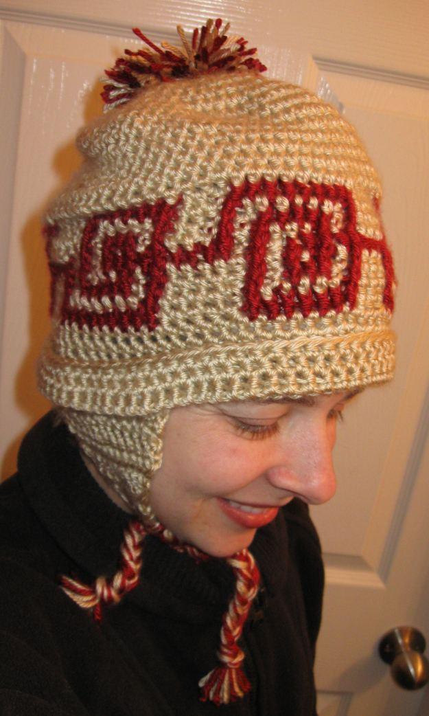 Earflap pom pom hat handmade crochet