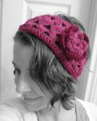 crocheted flower headband handmade