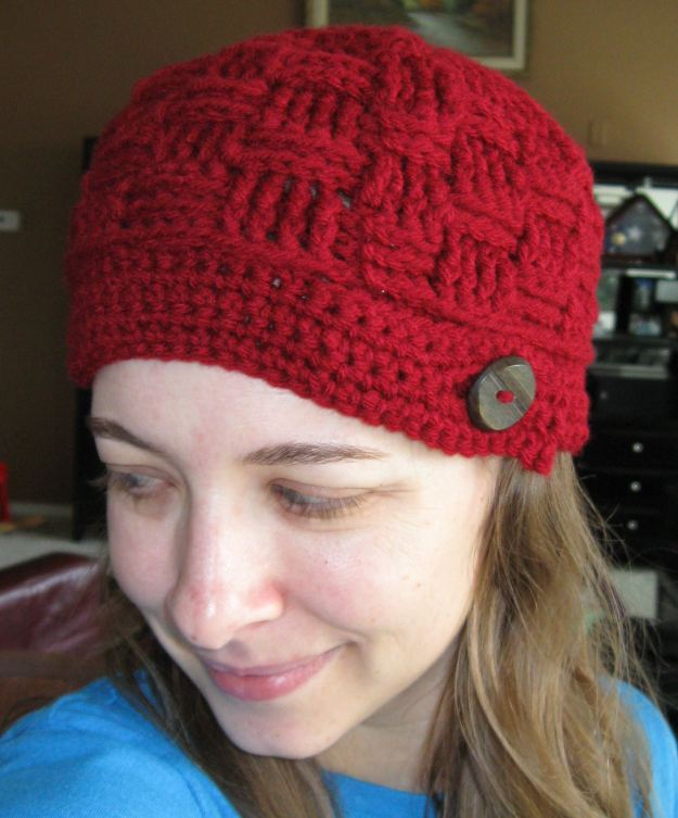 handmade hat button beanie crochet