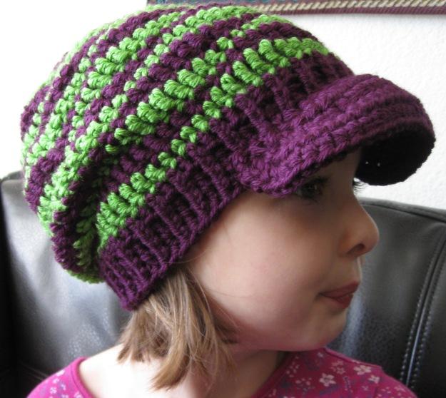 kids hat handmade crochet slouchy brim