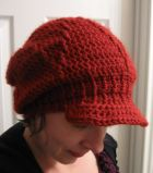 crocheted handmade slouchy hat with brim