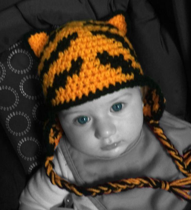 Tiger zebra kids child infant handmade crochet hat