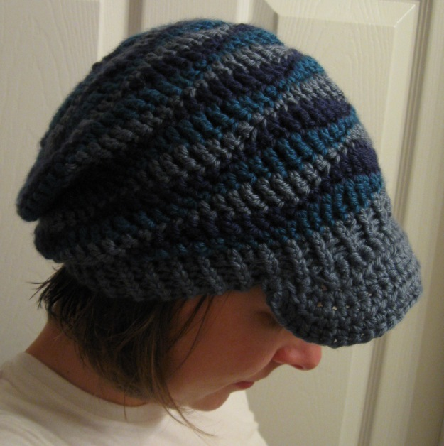handmade crocheted slouchy hat brim stripes