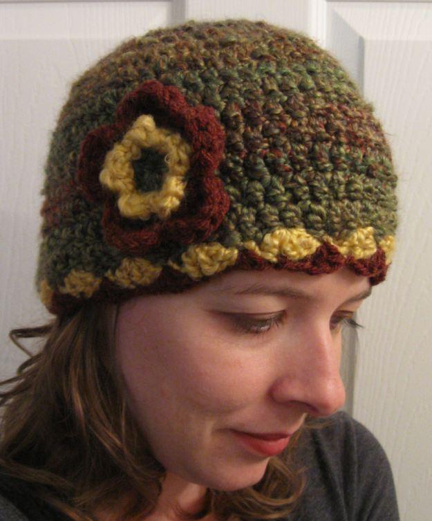 hat crochet handmade flower women