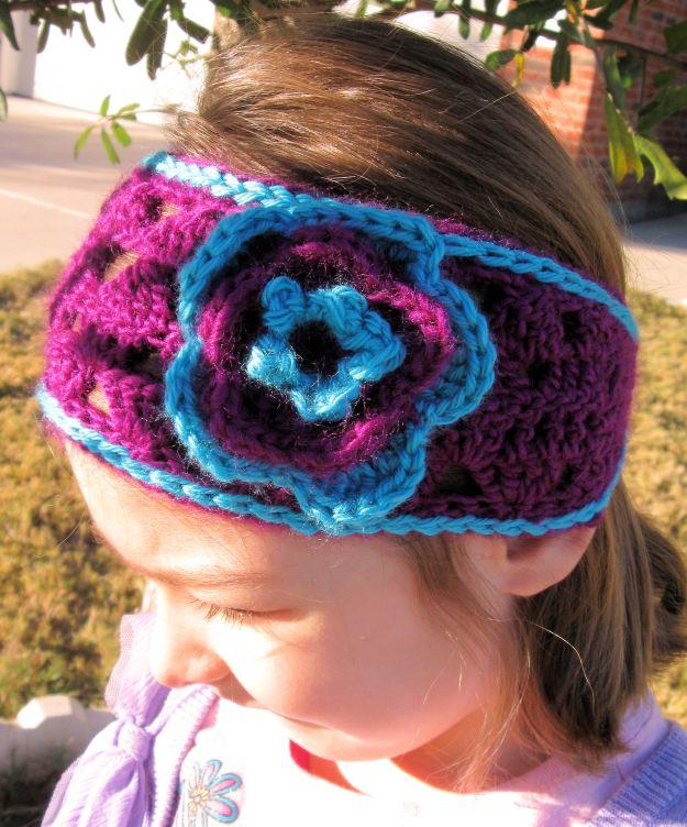Headband flower children handmade crochet