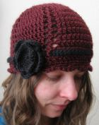 Ribbon Flower Hat Burgundy (6)